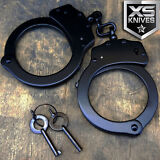 REAL Police Handcuffs DOUBLE LOCK Professional BLACK STEEL Hand Cuffs  w/ Keys