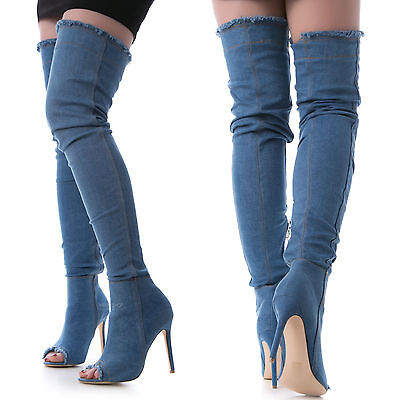 SCARPE DONNA STIVALI alla coscia  sopra ginocchio tacco spillo in jeans KS7039