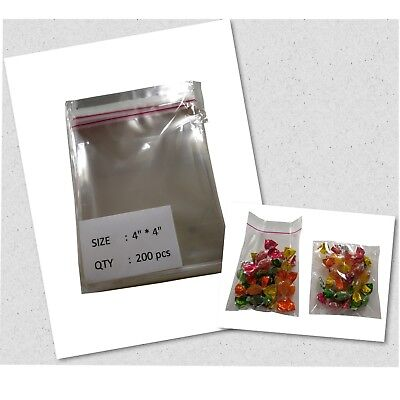 200 Pcs 4x4 Clear Resealable Cellophane Bags For Bakery Cookies Snacks