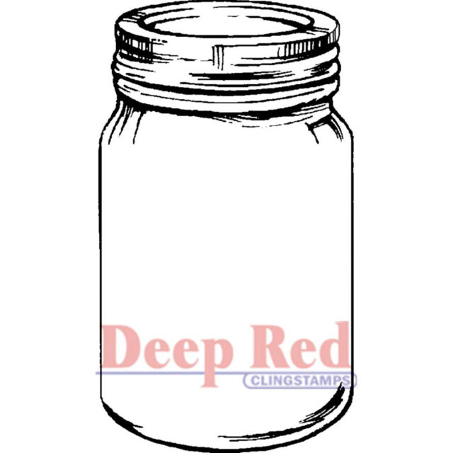 Mason Jar Deep Red Cling Rubber Stamp