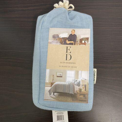 "Ellen Degeneres Riverside Euro Pillow Sham Dusty Blue NIP 26×26"" Bedding"