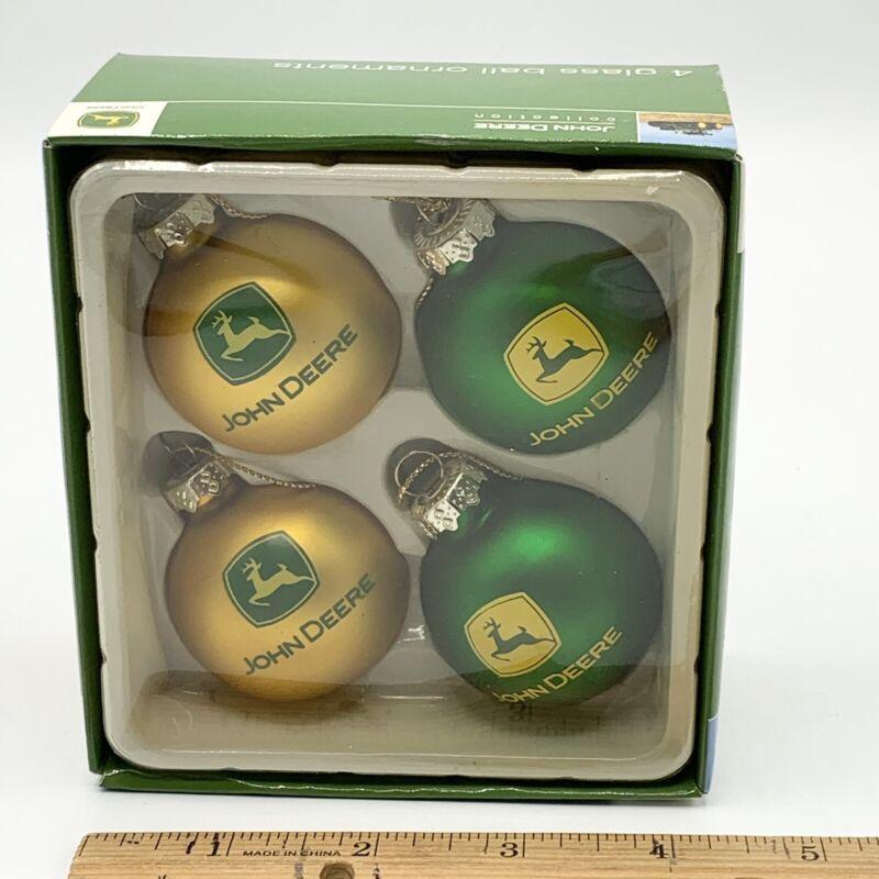 John Deere 4 Glass Holiday Christmas  Ball Ornament NRFB
