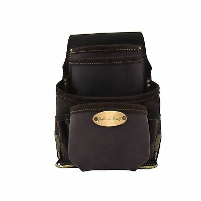 Style n Craft 90926 - 10 Pocket Nail & Tool Pouch in Oiled Top Grain Leather