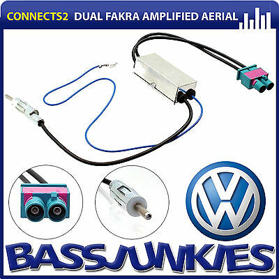 VW Golf Plus Dual Twin Car Radio Double Fakra to Din Aerial Antenna Adaptor