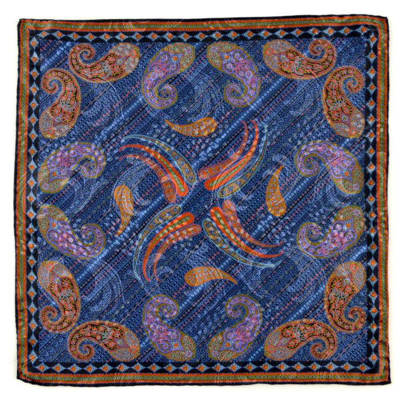 New SANTOSTEFANO Handmade Paisley Blue Silk Pocket Square Handkerchief NWT $150