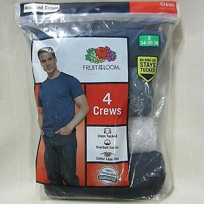 NEW FRUIT OF THE LOOM 4 CREW TEE SMALL (34-36) ASST FALL COLORS GIFT IDEA ()