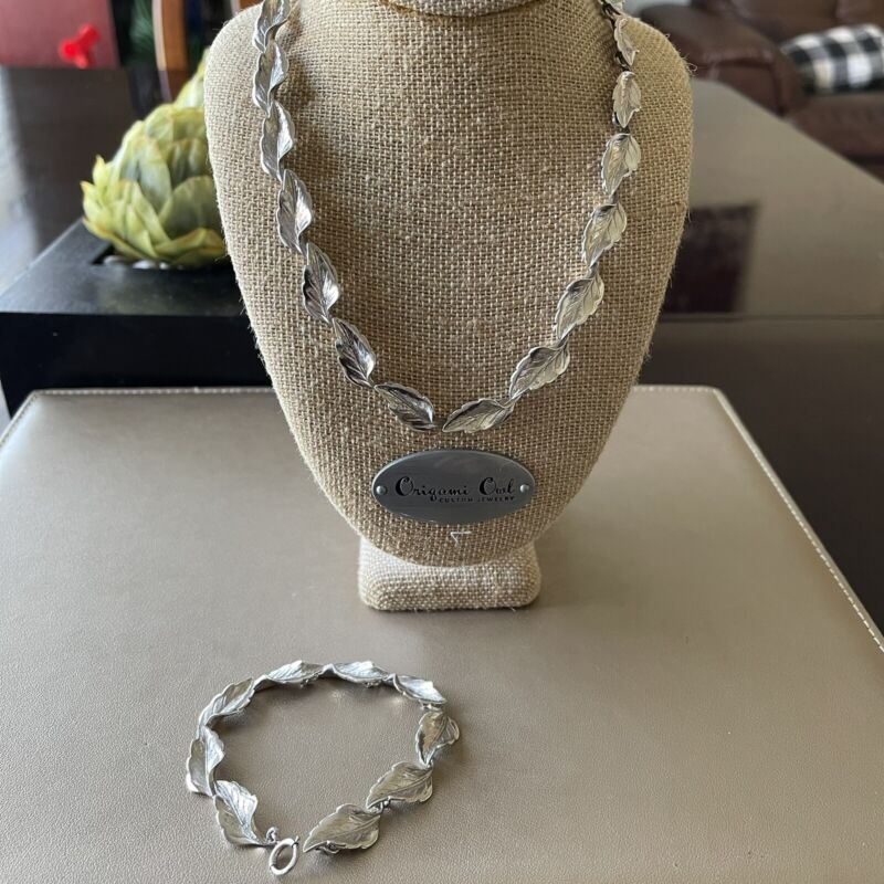 vintage leaf sterling silver bracelet and necklace set