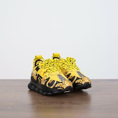 VERSACE 995$ New Women's Chain Reaction 2 Sneakers In Black, Yellow & Gold