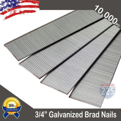 """3/4"""" Inch 18 Gauge AWG Chisel Point Galvanized Finish Brad Nails 10,000 Count US"""
