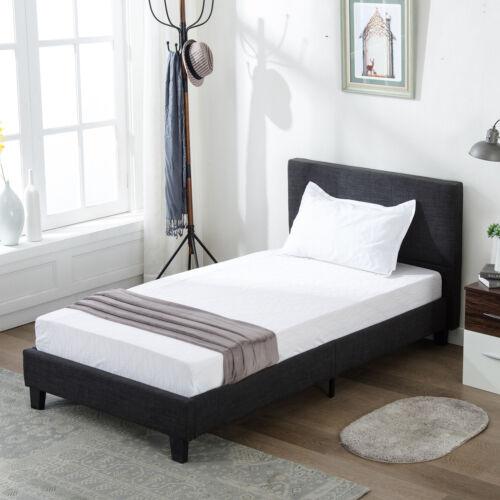 Twin Size Platform Bed Frame Upholstered Gray Linen Headboar