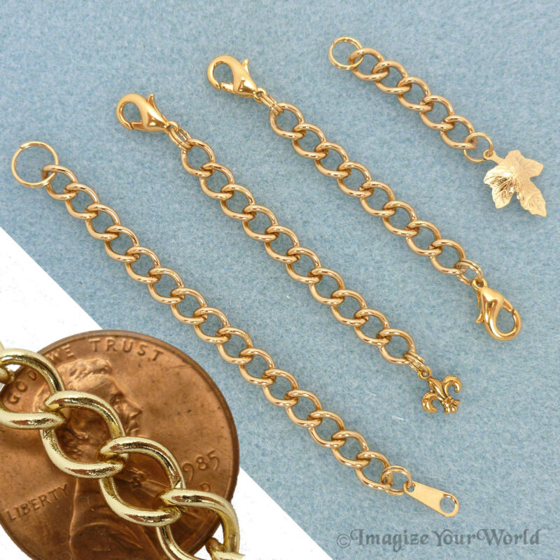 Custom GOLD Finished/Tone Extender Chain for heavy jewelry safety adjustable S6H