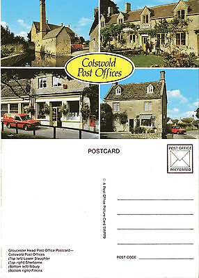 1980 MULTI VIEWS OF COTSWOLD POST OFFICES SWPR 9 UNUSED COLOUR POSTCARD