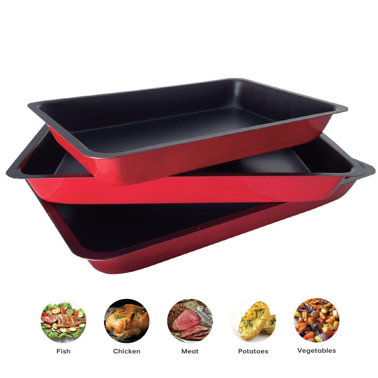 Set Of 3 Non Stick Baking Roasting Cooking Tray Set Oven Dish Bake Pan Bakeware