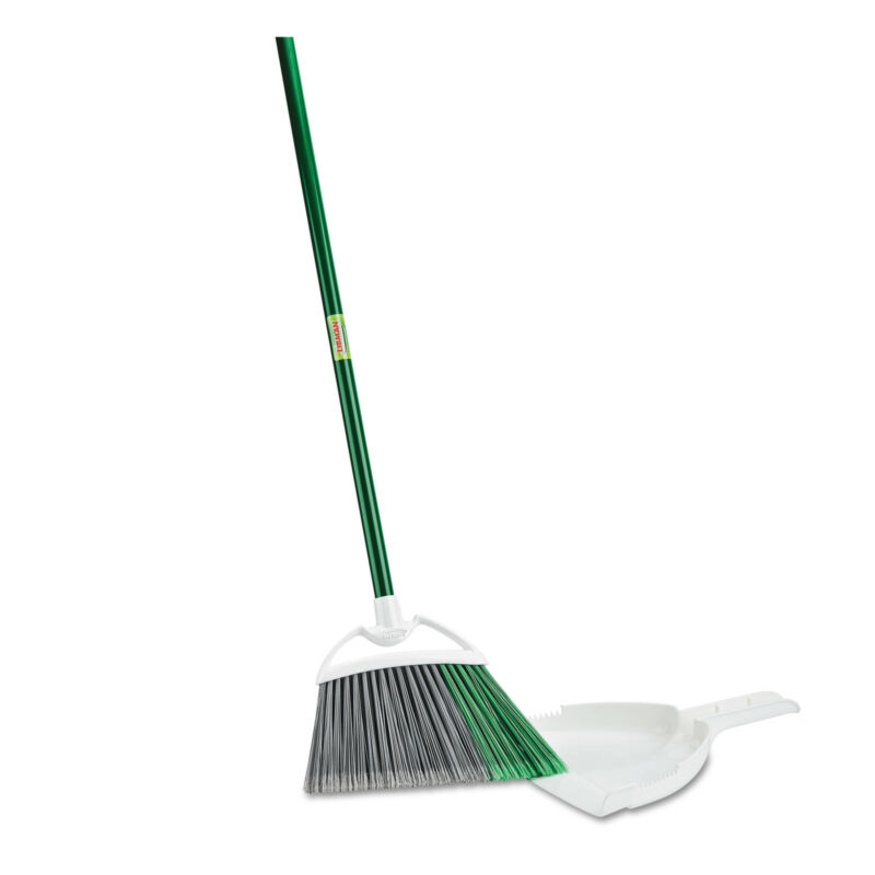 """Libman Commercial Precision Angle Broom with Dustpan 53"""" Handle Green/Gray 4"""