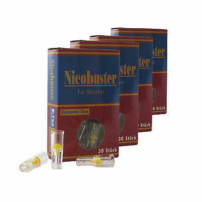 Nicobuster Zigarettenfilter Nikotinfilter als Zigarettenspitze 4 x 30 Stück