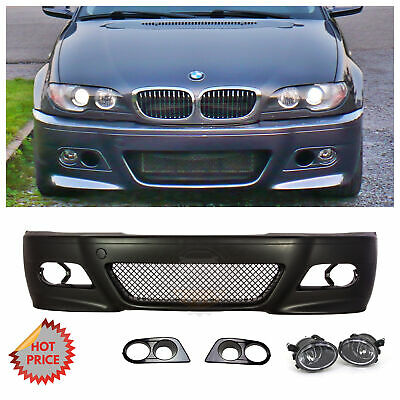 BMW E46 M3 STYLE FRONT BUMPER W/ CLEAR FOG LIGHTS COVERS FOR 1999-2005 SEDAN for sale  Shipping to Canada
