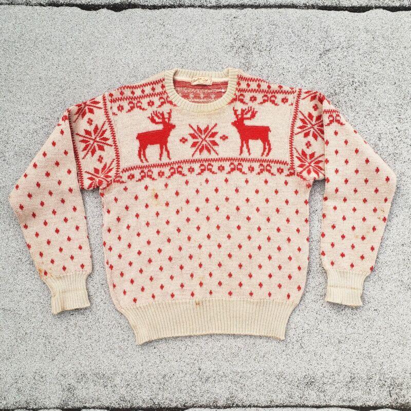 Vtg 40s JANTZEN 100% Thick Wool Ski Moose Sweater Navy Rockabilly Sz 42 RARE