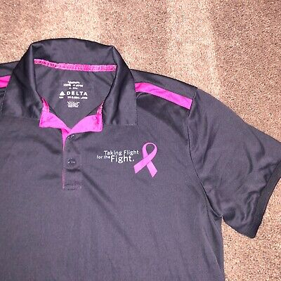 Delta Airlines Breast Cancer Awareness Taking Flight Fight Polo Shirt