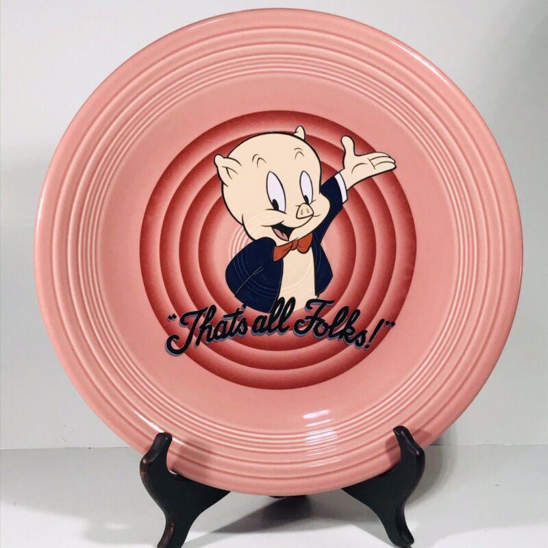 1994 Vintage Porky Pig Fiesta Pink Dinner Plate Warner Bros That