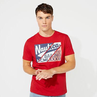 Nautica Mens Diagonal Square Graphic T-Shirt