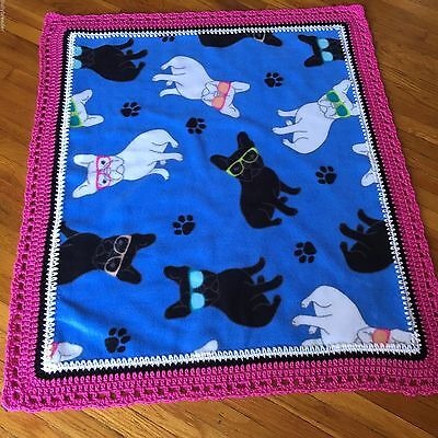 FRENCH BULLDOG Handmade Crochet Fleece Blanket for Baby or Pet Puppy dog bedding