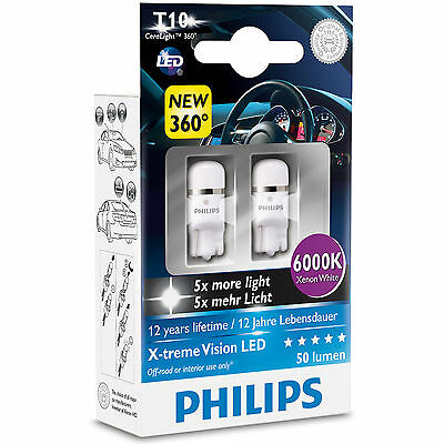 PHILIPS XTREME VISION 360 LED T10 501 W5W CAR BULBS 6000K  New Box Design