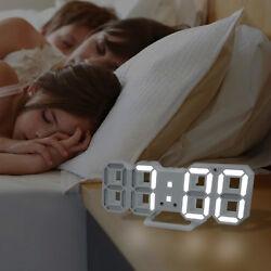 3D LED Digital Wall Clock Modern Design Table Snooze Alarm Timer 12/24h Display