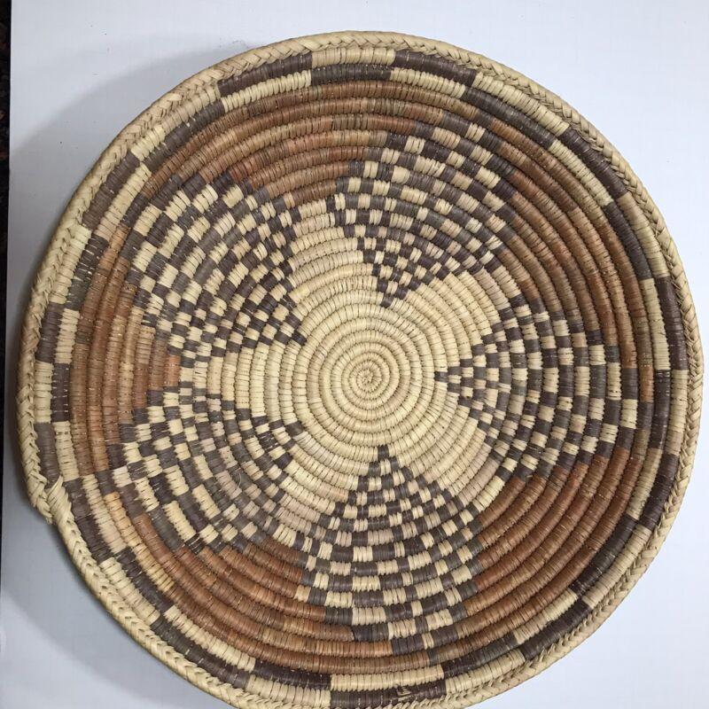 "Vintage Navajo Wedding Coil Woven Basket close to 15"" Diameter 3"" tall"