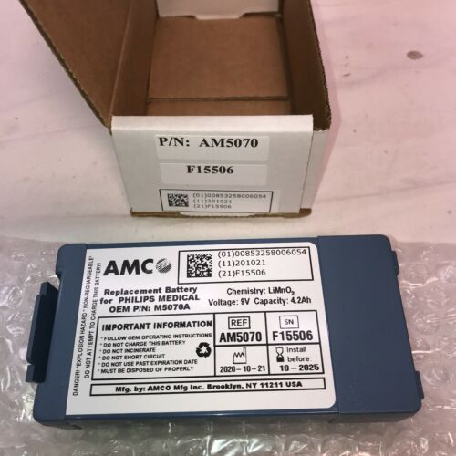 AMCO M5070A Replacement Battery for Philips Onsite and FRX - NEW EXP DATE 2025