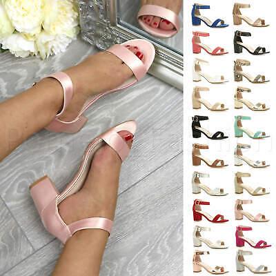 WOMENS LADIES LOW MID BLOCK HEEL ANKLE STRAP WEDDING BRIDESMAID SANDALS SIZE Ankle Strap Wedding Heels