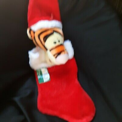 "Disney Tigger Winnie The Pooh 19"" Plush Santa Hat Head Red Christmas Stocking"