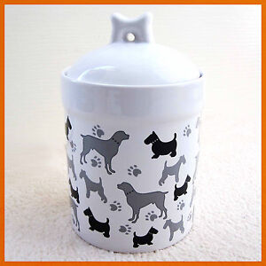Porcelain Pet Dog Treat/Food Container (New) Ceramic Storage Jar Holder Canister