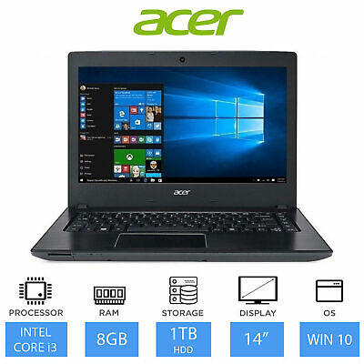 "Acer Aspire E5-475 14"" Laptop (Intel Core i3-6006, 8GB, 1TB) Windows 10"