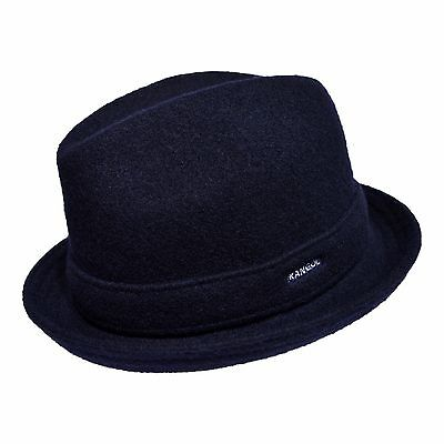 (Kangol Wool Player Men's Wool Blend Center Dent Fedora Hat Dark Blue)