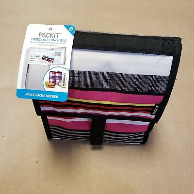 Pack it Freezable Lunch Bag Pinks Black Stripes No Ice Packs Needed Freezable Ice Pack