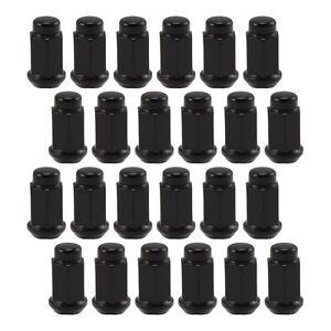 24 BLACK LUG NUTS 14X1.5 fits Chevy Silverado Tahoe GMC Yukon Sierra 1.90