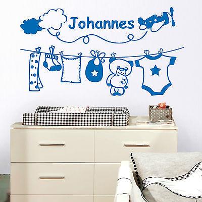 10944 Wandtattoo Loft Aufkleber Baby Zimmer Deko Wunschname Jungs Teddy Kinder