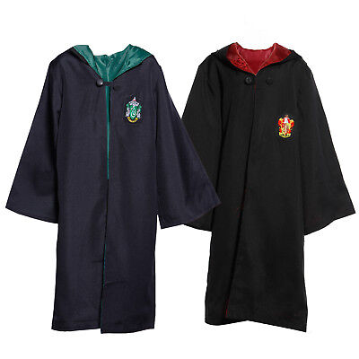 Adult Kids Harry Potter Hooded Wizard Cloak Robe Cape Costume Fancy Dress