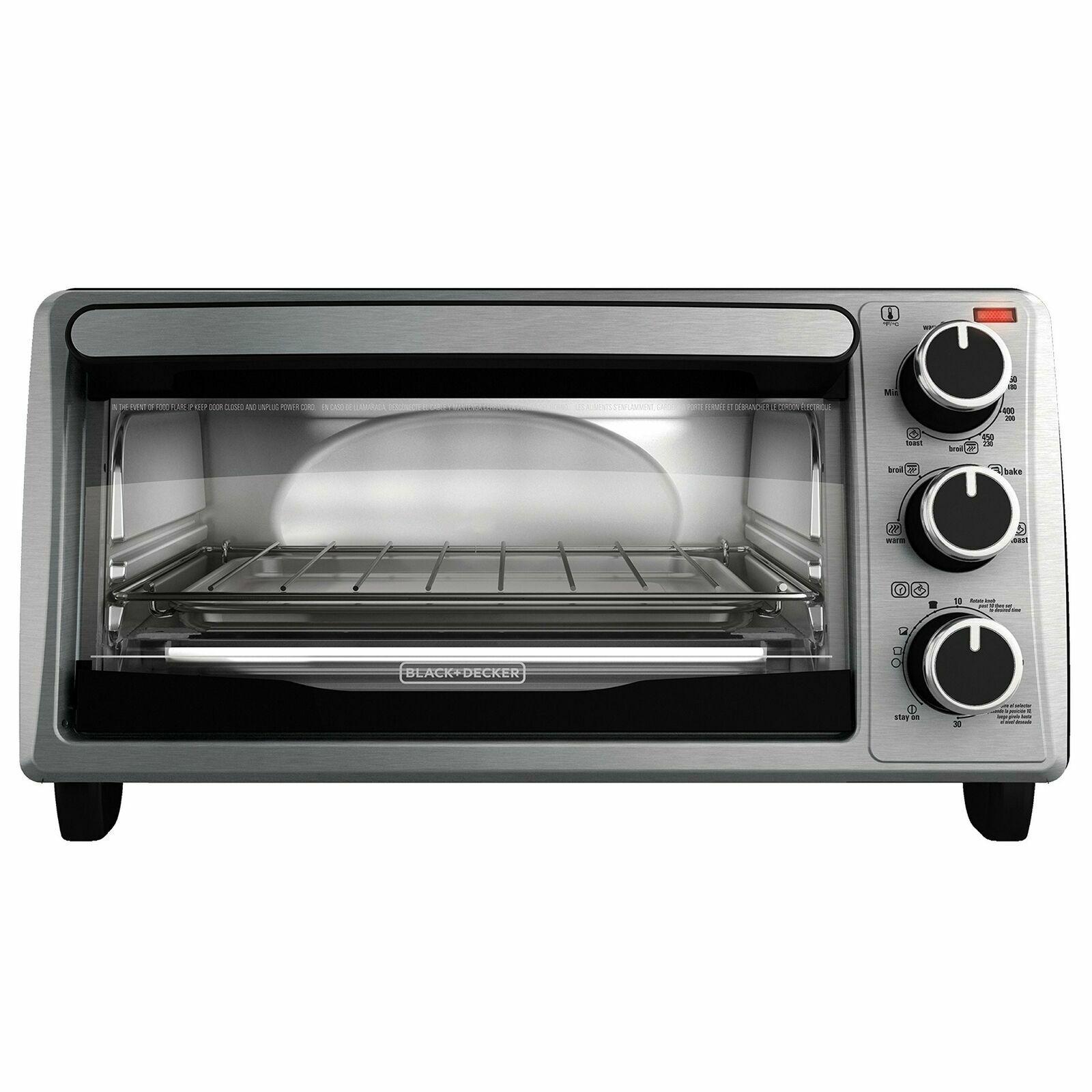 BLACK+DECKER TO1303SB 4-Slice Toaster Oven, Stainless Steel