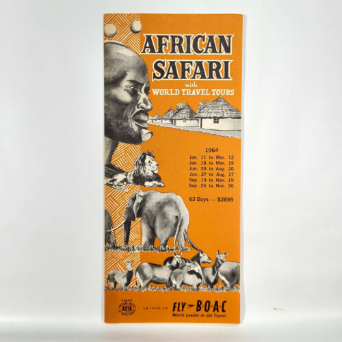 1964 World Travel Tours African Safari Vintage Brochure Africa BOAC Airlines