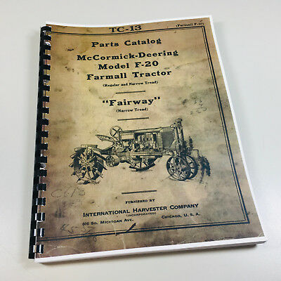 Farmall F20 Tractor Parts Manual Mccormick Deering Fairway Regular Narrow Print