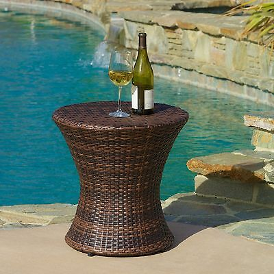Outdoor Patio Furniture Contemporary Brown PE Wicker Hourglass Side Table