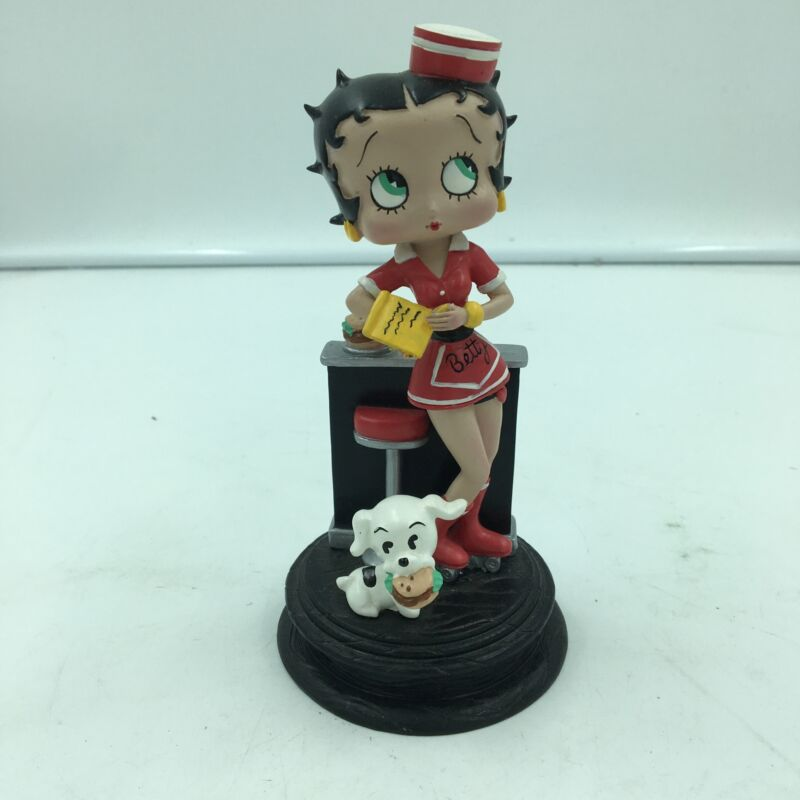 Betty Boop Diner Waitress Betty Figurine Wearing Red Roller Skates w/ Pudgy