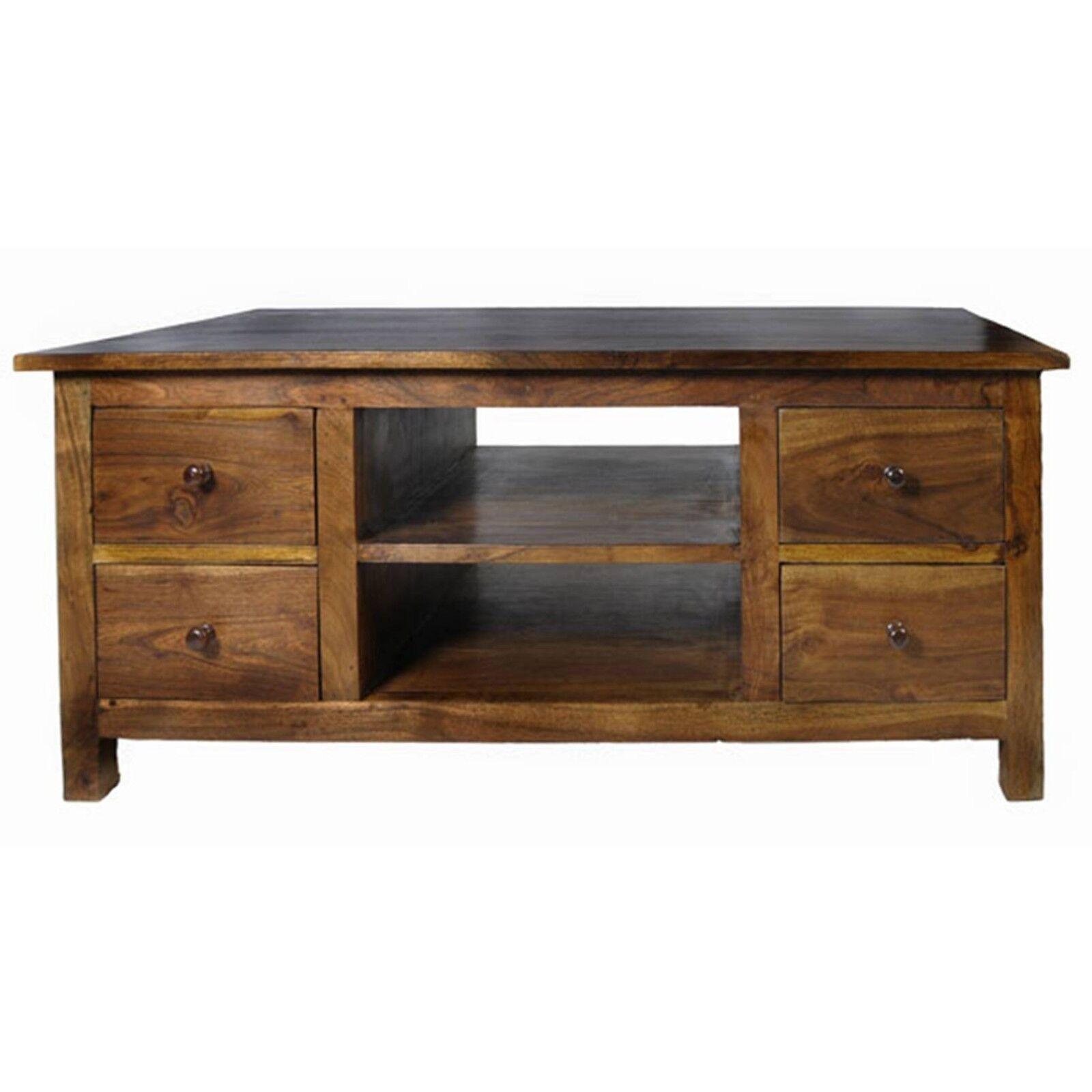 Coffee Table 8 Drawers Shelves 110cm Storage Unit Lisbon Acacia