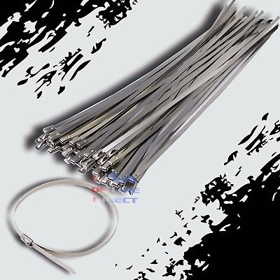 10 Stainless Steel Exhaust Wrap Ul Approved Locking Cable Zip Ties Metal 100 Pc