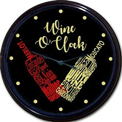 Wine o'clock Wall Clock Red Wine bottle White Wine Bottle Merlot Chardonnay 10