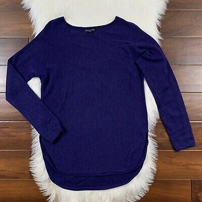 Eileen Fisher Women's Size Medium Petite Purple Shirttail Hem Merino Sweater Top