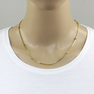Goldene Edelstahl Kügelchen Halskette mit Karabinerverschluß Schmuckkette 45cm (Goldene Halskette Verschluss)