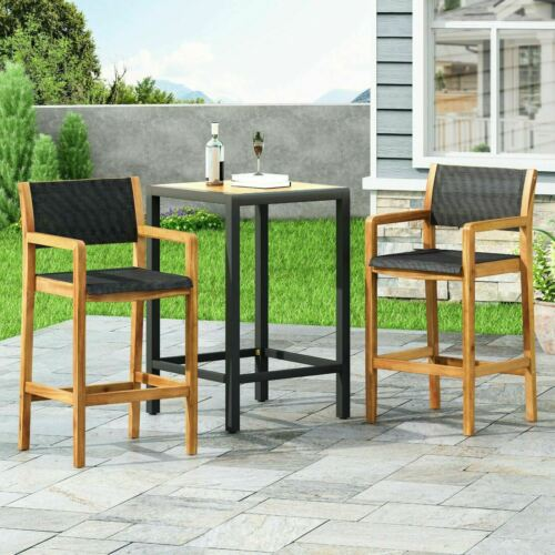 Daiquan Outdoor Acacia Wood Barstools with Outdoor Mesh (Set of 2) Benches, Stools & Bar Stools