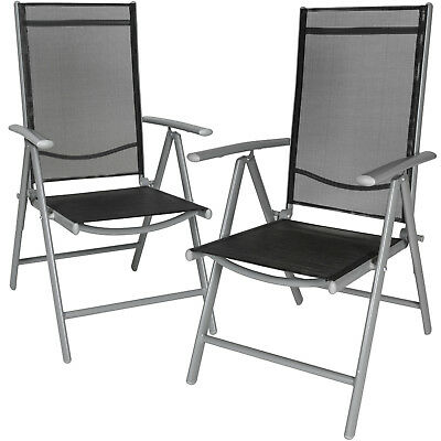 Set di 2 alluminio sedie da giardino pieghevole poltrona campeggio grigio chiaro